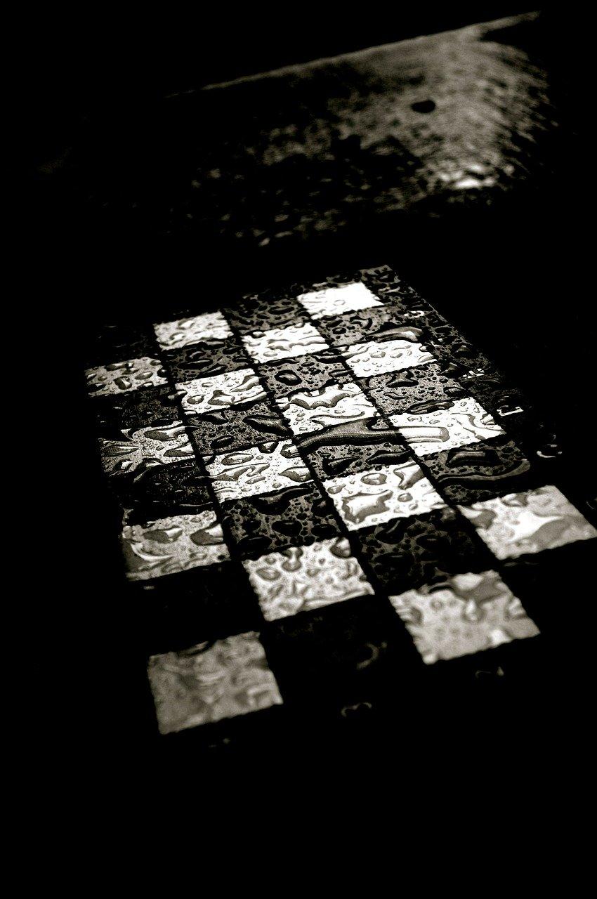 chess, chess board, rain